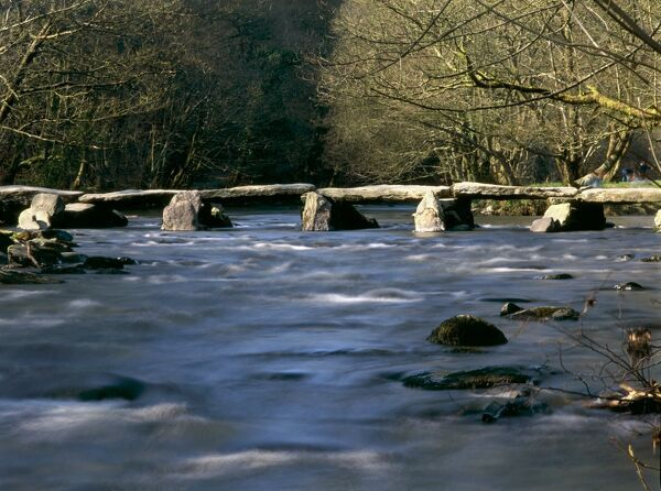 RIVER BARLE, Somerset. View of Tarr Steps across river Barle, south of Withypool