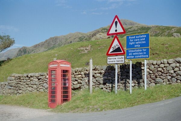 Picturesque view of rural Cumbria showing type K6 telephone box in foreground. IoE 76298