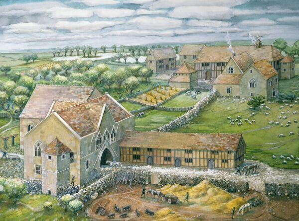 THORNHOLME PRIORY, Humberside. Gatehouse and west precinct as it may have been in mid-14th century by Judith Dobie (English Heritage Graphics Team)