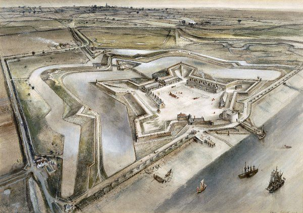 TILBURY FORT, Essex. An aerial reconstruction drawing by Alan Sorrell
