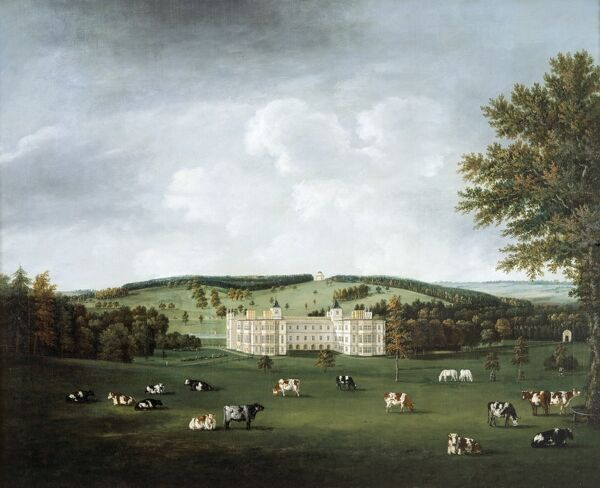 "AUDLEY END HOUSE, Saffron Walden, Essex. ""Audley End and the Ring Hill Temple"" c1788 by William TOMKINS (1730-92)"