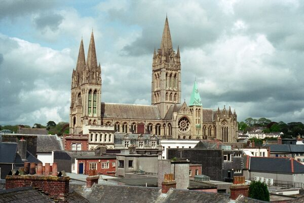 Truro Cathedral, Cornwall. The grade I listed building, viewed across the rooftops
