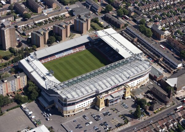 UPTON PARK, London. Aerial view of Boleyn Ground, the home of West Ham United FC since 1904. Photographed in 2009
