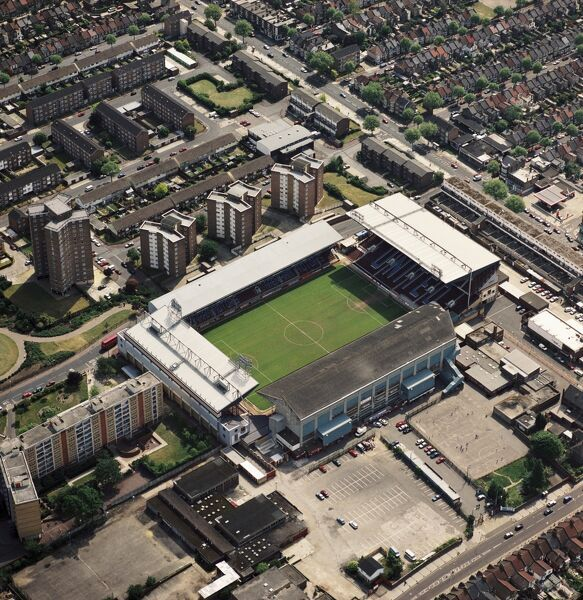 UPTON PARK, London. Aerial view of Boleyn Ground, the home of West Ham United FC since 1904. Photographed in 1995. Aerofilms Collection (see Links)