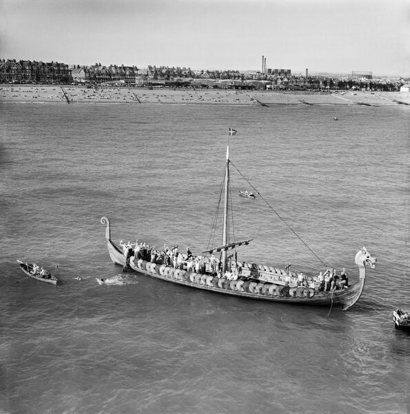 The Hugin (a replica of the Viking Gokstad ship) at sea, Eastbourne, East Sussex
