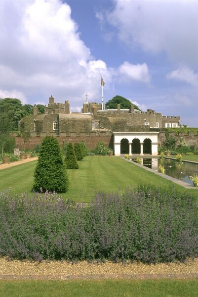 WALMER CASTLE AND GARDENS, Kent. The Queen Mother's Garden with the castle beyond