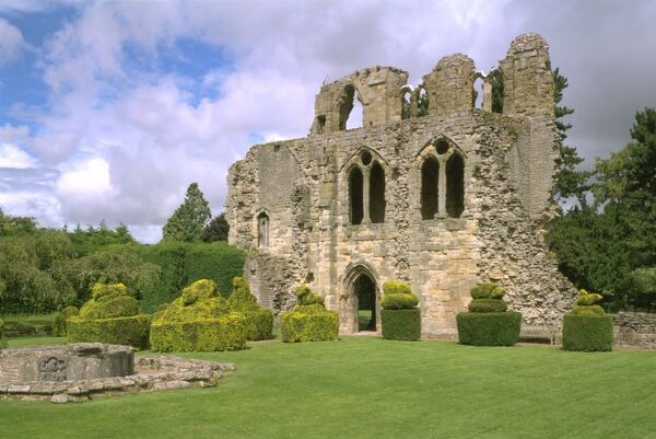 WENLOCK PRIORY, Shropshire. View of St Michael's chapel from the South East looking across the cloister