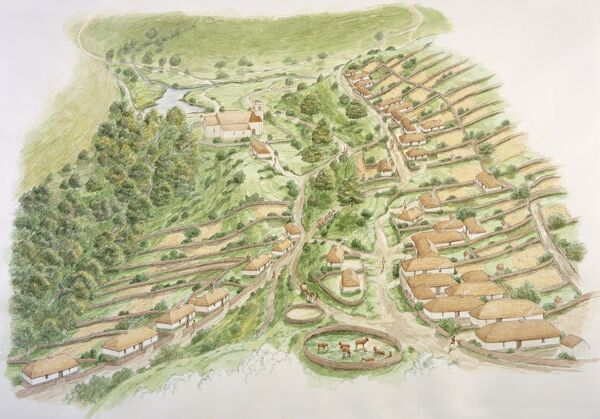 WHARRAM PERCY MEDIEVAL VILLAGE, North Yorkshire. Aerial view reconstruction drawing by Stephen Conlin of Wharram Percy in the 13th century