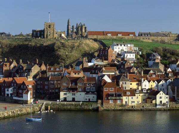 WHITBY, North Yorkshire. View looking across the harbour to Old Town from West Cliff Abbey hill