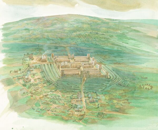 A reconstruction drawing, by Judith Dobie, showing an aerial view of Whitley Castle Roman Fort (Epiacum) and the surrounding area as it may have appeared from the south-west in the 2nd century AD, with settlement shown in the foreground