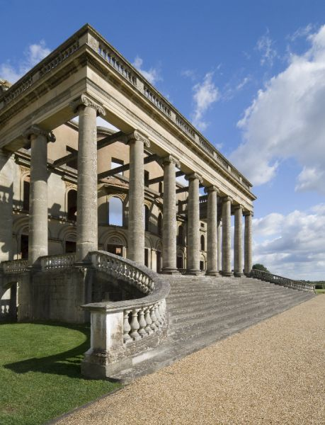 WITLEY COURT AND GARDENS, Worcestershire. The South Portico, added by John Nash in the early nineteenth century