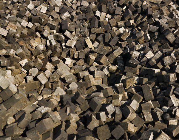 View of discarded wooden blocks, probably used on the floor of the old Swindon Railway Works
