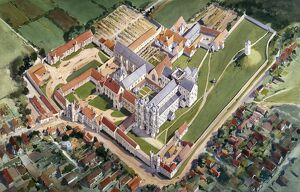 Aerial view reconstruction drawing, St Augustine's Abbey J920596