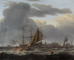 Bakhuizen - A Warship at Anchor in a Rough Sea N070527