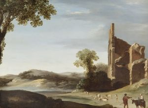 fine art/apsley house paintings/breenbergh landscape classical ruins figures