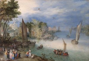 Brueghel - River Scene with Boats and Figures N070539