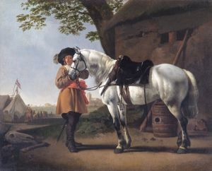 Calraet - A Cavalier with a Grey Horse N070467