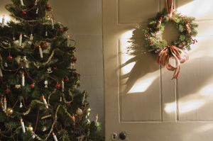 Christmas tree and Christmas wreath N071719