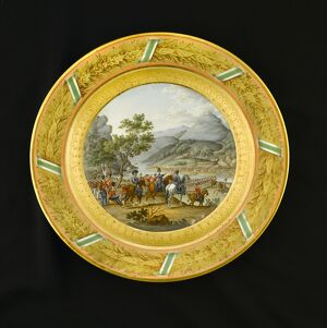 Dessert plate depicting Crossing the Mondego 1810 N080952