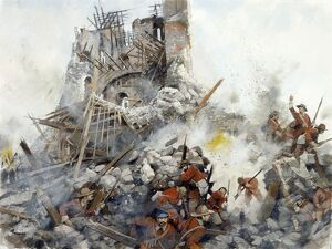 Destruction of the Keep, Civil War, Scarborough Castle J000085