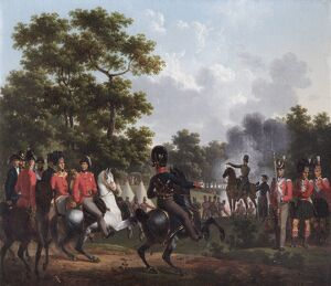 Lecomte - Duke of Wellington visiting outposts at Soignes N070534