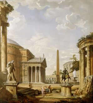 Panini - Capriccio of Roman ruins with the Pantheon J880469