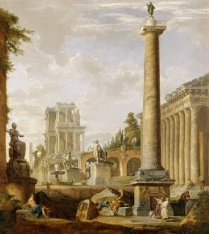 Panini - Capriccio of Roman ruins with Trajan's Column J880470
