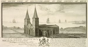 Reculver Church engraving J010064