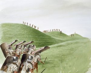 Roman soldiers in battle with Celtic tribes J870477