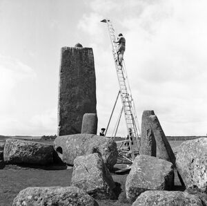 Stonehenge showing photographer's ladder in 1954 P50803