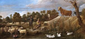Teniers - Landscape with two shepherds, cattle and ducks N070553
