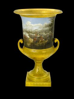 Urn showing Duke of Wellington at the Battle of Waterloo N080953