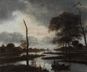Van Der Neer - River view: Evening N070541