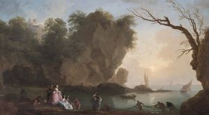 Vernet - Sunset: View over a Bay with Figures N070601
