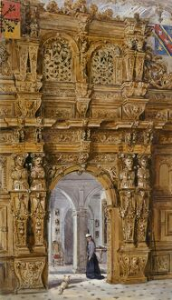 Watercolour of Great Hall screen, Audley End House K991257
