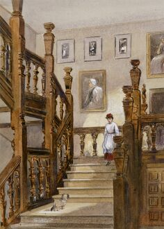 fine art/paintings outside london/watercolour north stairs audley end house k991258