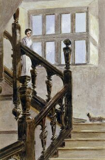 Watercolour of the North stairs, Audley End House K991260