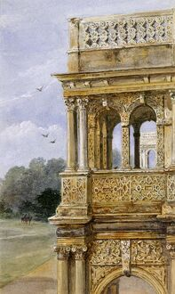 Watercolour of the South porch, Audley End House K991259