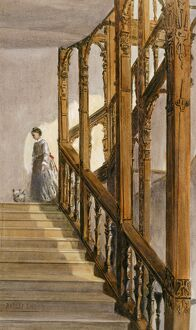Watercolour of the South stairs, Audley End House K991256